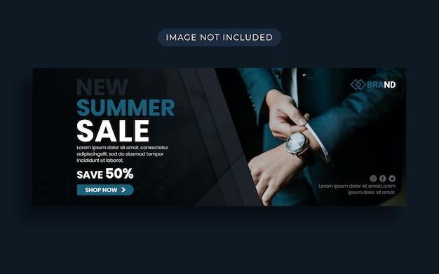 Современная мода летняя распродажа facebook обложка и веб-баннер Premium Psd