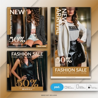 Modern fashion web banner social media template