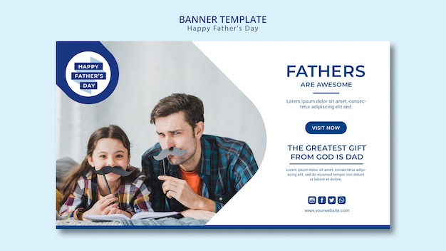 Modern father's day banner template