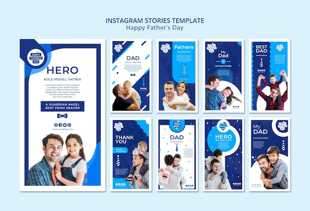 Modern father's day instagram stories template