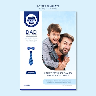 Modern father's day poster template with photo
