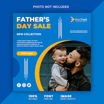 Modern fathers day sale promotion square banner for social media template