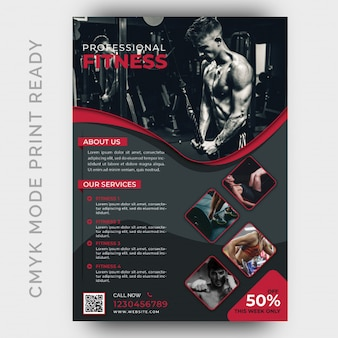 Modern fitness gym flyer design template