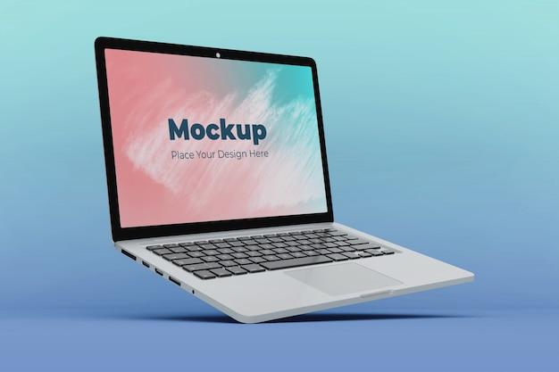 Modern floating laptop display mockup design template