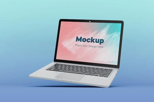 Modern floating laptop screen mockup design template