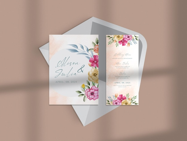 Modern floral hand drawn watercolor business card paper mock