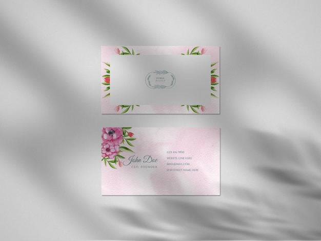 Modern floral hand drawn watercolor business card paper mockup with shadow overlay
