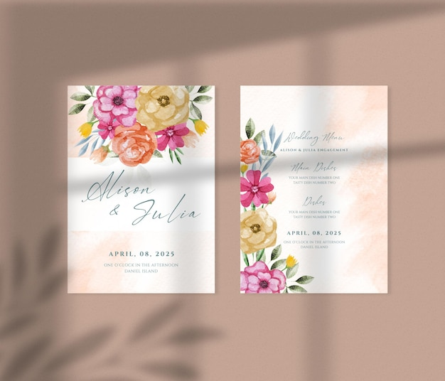 Modern floral hand drawn watercolor business card paper mockup