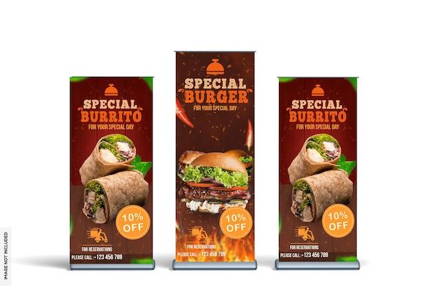 Modern food rollup banner mockup