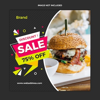 Modern food  sale banner and instagram square post template design