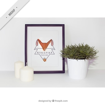 Modern frame image with candles and flowerpot