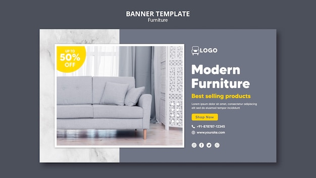 Modern furniture banner template design