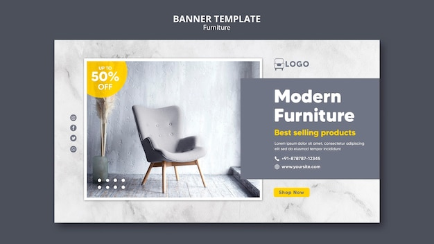 Modern furniture banner template style
