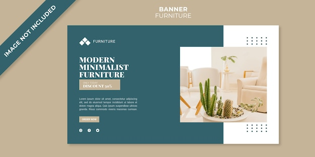 Modern furniture concept banner template