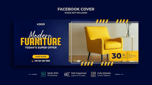 Modern furniture facebook cover and social media banner template design