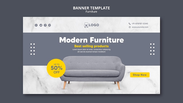 Modern furniture horizontal banner
