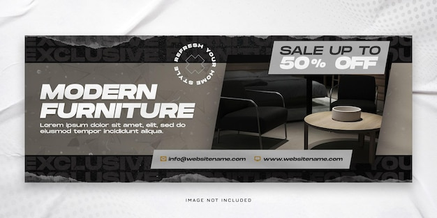 Modern furniture sale facebook cover or horizontal banner template