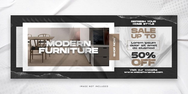 Современная распродажа мебели обложка facebook timeline и шаблон psd веб-баннера