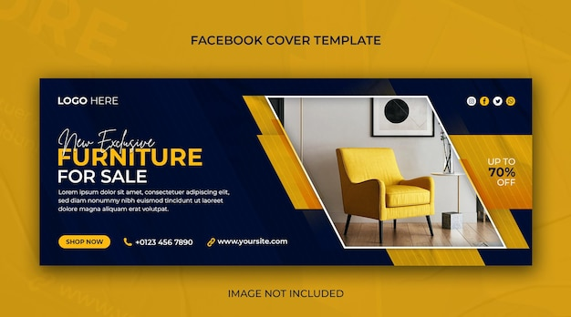 Modern furniture sale horizontal banner or facebook cover photo psd template