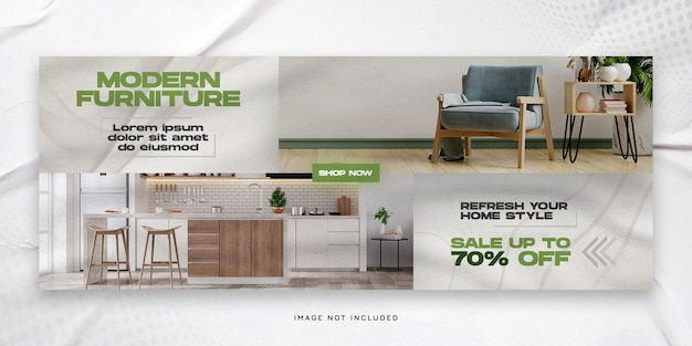 Modern furniture sale horizontal banner or facebook cover template