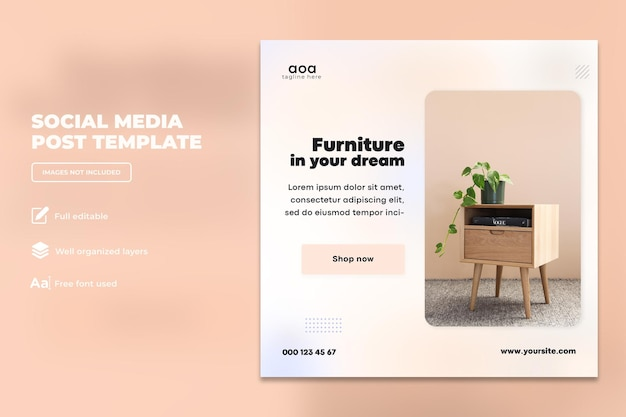 Modern furniture social media design or square flyer template design