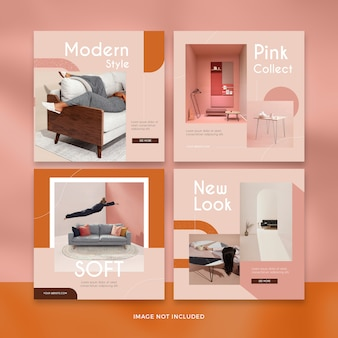 Modern furniture social media post template collection