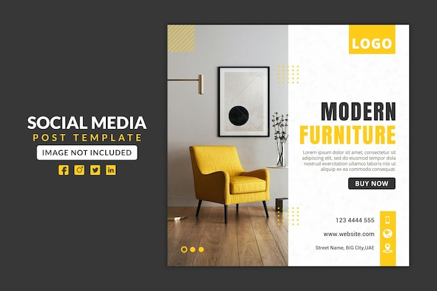 Modern furniture social media post or web banner template