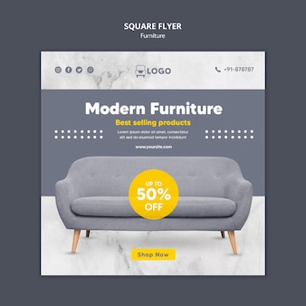 Modern furniture square flyer template