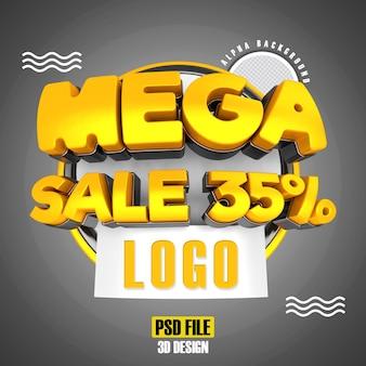 Modern gold 3d mega sale banner promotion 35 template