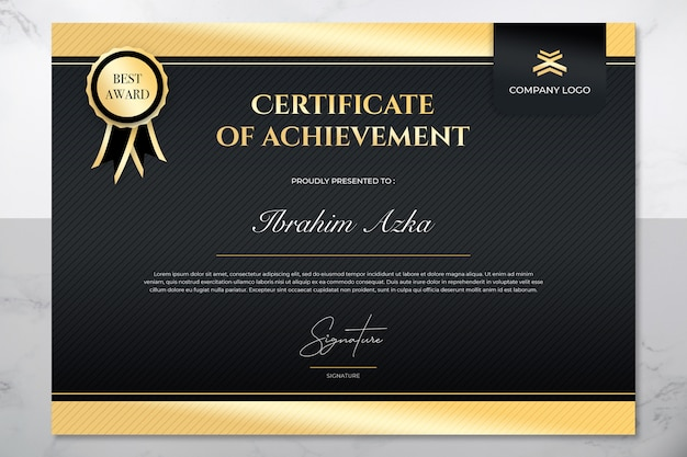 Modern gold and black certificate of achievement template