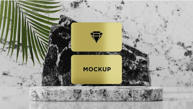 Modern gold business card mockup with tropical trees in 3d render