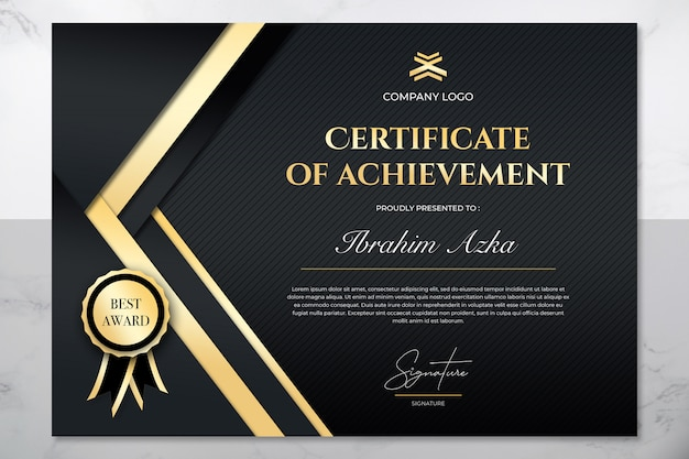 Modern gold certificate of achievement template