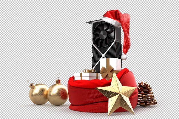 Современная графическая карта и мешок с рождественскими подарками. рождественские технологии концепции. 3d-рендеринг