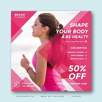 Современный дизайн рекламы в социальных сетях gym and fitness
