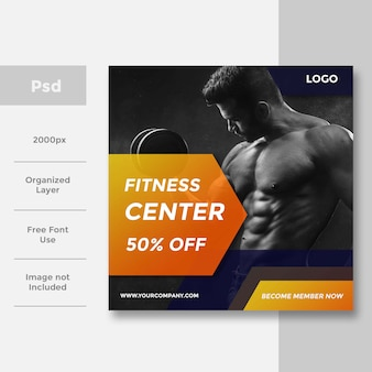 Modern gym and fitness социальные медиа баннер, спортивная верстка