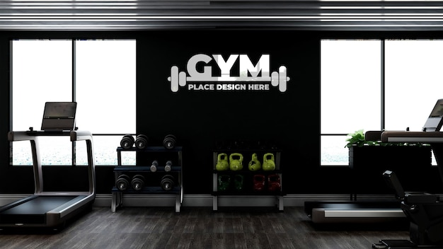 Modern gym or fitness interior wall logo mockup