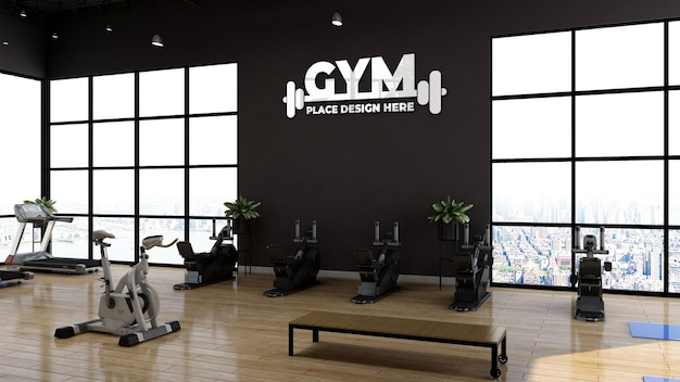 Modern gym or fitness room wall sports logo mockup for branding