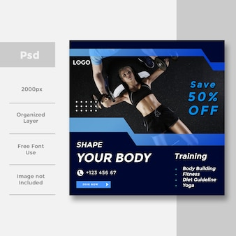 Modern gym and fitness social media banner ad design