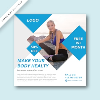 Modern gym & fitness social media promotion design