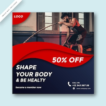 Modern gym and fitness social media promotion design
