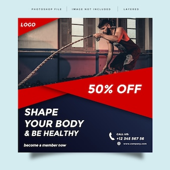 Modern gym and fitness social media promotion