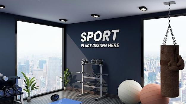 Modern gym interior wall logo mockup in high building