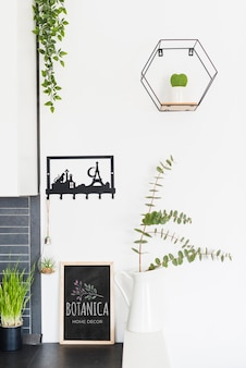 Modern home decor and leaves