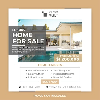 현대 주택 판매 소셜 미디어 광장 배너 포스트