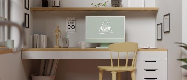 机の上にコンピューター、消耗品、装飾を備えたモダンなホームオフィスのインテリアデザイン