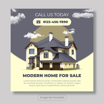 Modern home for sale instagram post template banner
