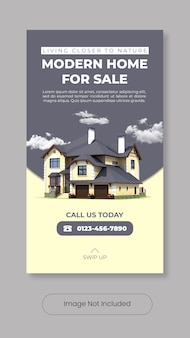 Modern home for sale instagram stories template banner
