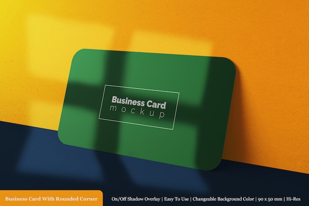 Modern horizontal 90x50 mm corporate business card with round corner mock up