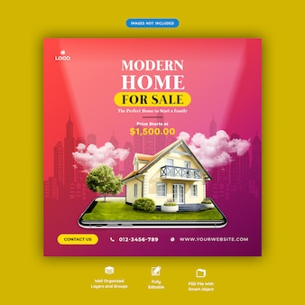 Modern house for sale social media banner template