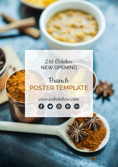 Modern indian food poster template
